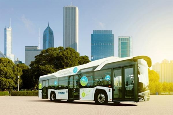 Voith siap masuk pasar kendaraan listrik dengan sistem penggerak baru bus bertenaga listrik.  - IAA