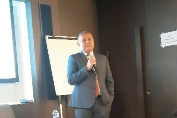Ferhad Annas, Direktur Utama PT Monex Investindo Futures, membuka konferensi pers kompetisi trading online MIFX 2018 di Jakarta, (31/10 - 2018).