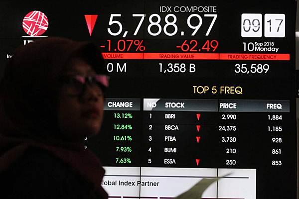 Pengunjung berada di dekat papan elektronik yang menampilkan perdagangan harga saham, di Jakarta, Senin (10/9/2018). - JIBI/Dedi Gunawan