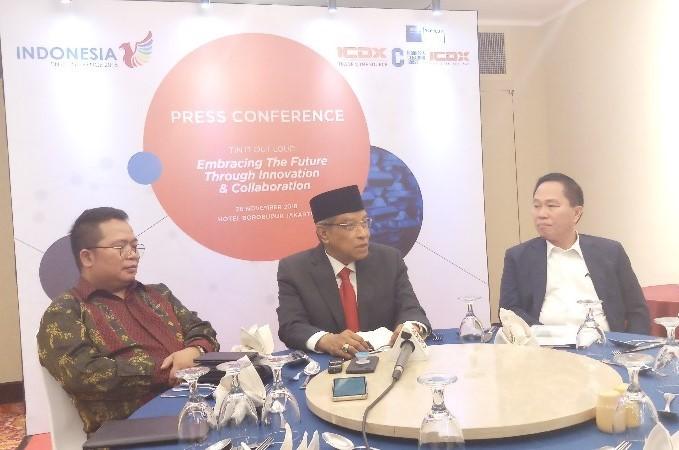 Direktur Utama ICH Nursalam, Komisaris Utama BKDI Said Aqil Siraj, dan Chairman ICH Fenny Widjaya, pada konferensi pers Indonesia Tin Conference (ITCE) 2018 di Jakarta, Senin (26/11/2018). - Mutiara Nabila