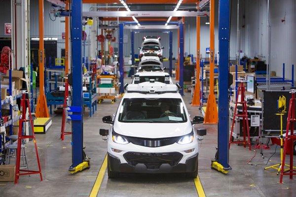 Chevrolet Bolt EV, kendaraan uji otonom, dirakit di General Motors Orion Assembly di Orion Township, Michigan. (Jeffrey Sauger untuk General Motors)