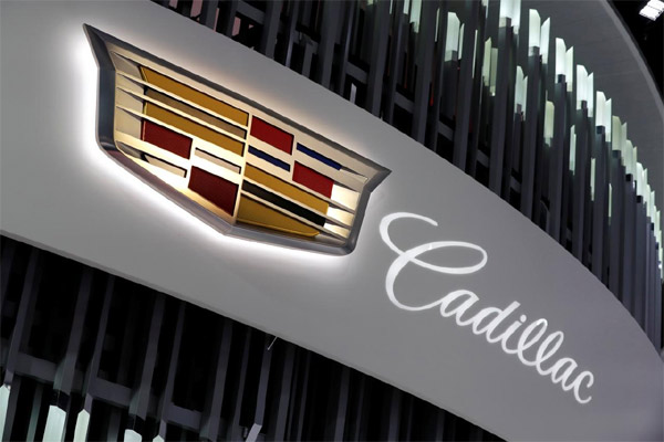 Penampakan logo booth Cadillac di North American International Auto Show di Detroit, Michigan, AS, 16 Januari 2018.  - REUTERS