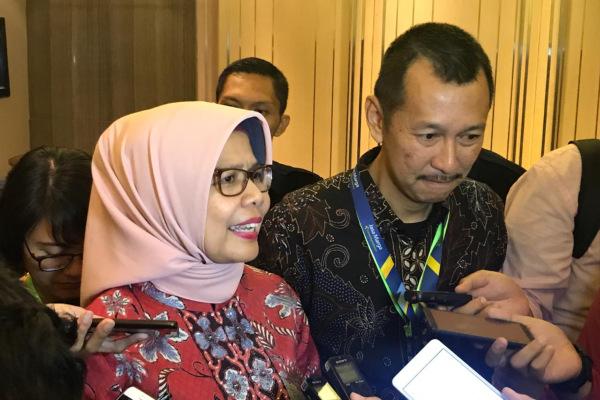 Direktur Utama Jasa Marga Desi Arryani usai Rapat Umum Pemegang Saham Luar Biasa (RUPSLB) Jasa Marga di Jakarta, Jumat (1/2/2019). - Bisnis/M. Nurhadi Pratomo