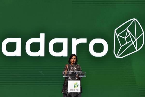 Menteri Keuangan Sri Mulyani menyampaikan sambutan saat Perayaan 10 Tahun Initial Public Offering (IPO) sekaligus satu dekade transformasi bisnis perusahaan PT Adaro Tbk di Jakarta, Senin (16/7/2018). - ANTARA/Puspa Perwitasari