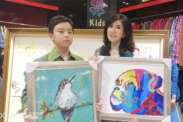 Rainier Wardhana Hardjanto menyumbang lukisan untuk kegiatan lelang amal Hari Down Syndrome Sedunia. - Istimewa