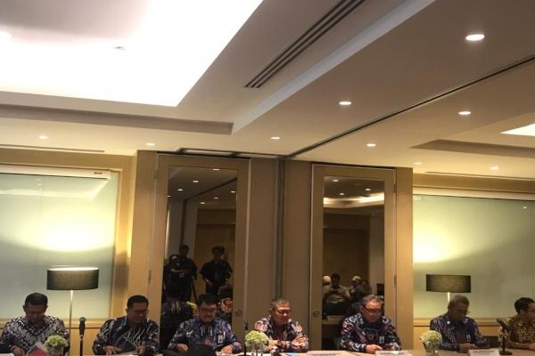 Direksi Waskita Karya menggelar konferensi pers usai RUPST kinerja 2018 di Jakarta, Kamis (9/5/2019). - Bisnis/M. Nurhadi Pratomo
