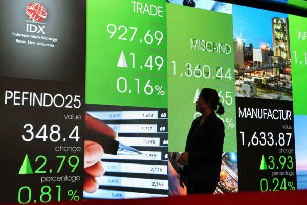 Pengunjung berjalan di dekat papan elektronik yang menampilkan perdagangan harga saham di Jakarta, Selasa (16/1/2018). - JIBI/Dedi Gunawan