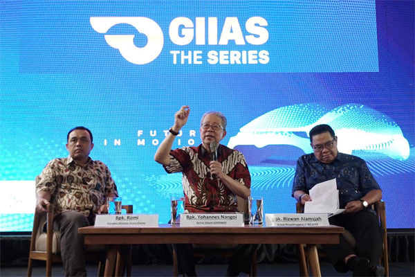 Ketua Umum Gaikindo Yohannes Nangoi memaparkan agenda GIIAS 2019 di BSD City, Tangerang, Selasa (26/2/2019).  - GIIAS