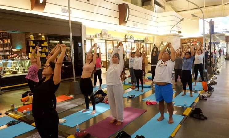 Olahraga yoga dalam rangka memperingati Hari Yoga Sedunia - Dok. Yogacity