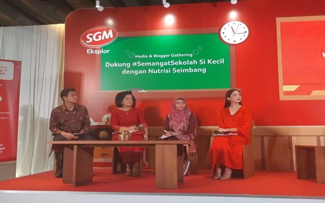 Diskusi bertema Dukung Semangat Sekolah Anak di Kecil dengan Nutrisi Seimbang di kawasan Menteng, Jakarta, Kamis (4/7) - Bisnis/Syaiful Millah