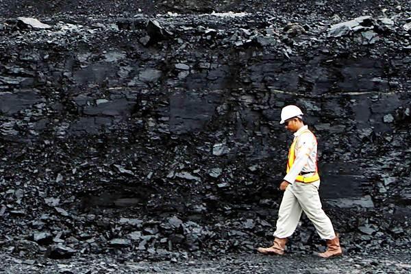 Pekerja berjalan di dekat timbunan batu bara, di Berau, Kaltim. - REUTERS/Yusuf Ahmad