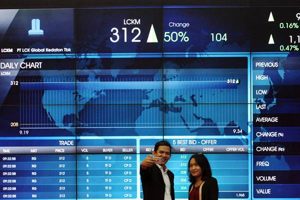 Pengunjung berswafoto dengan latar belakang layar elektronik perdagangan saham di Jakarta, Selasa (16/1). - JIBI/Dedi Gunawan