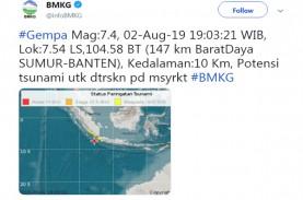 Berpotensi Tsunami, Banten Diguncang Gempa 7,4 SR