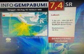 Gempa Banten 7,4 SR, Berikut Daerah Waspada dan Siaga Tsunami