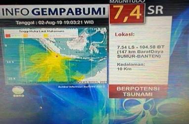 Gempa 7,4 SR Goyang Banten, Ini Wilayah yang Berpotensi Diterjang Tsunami