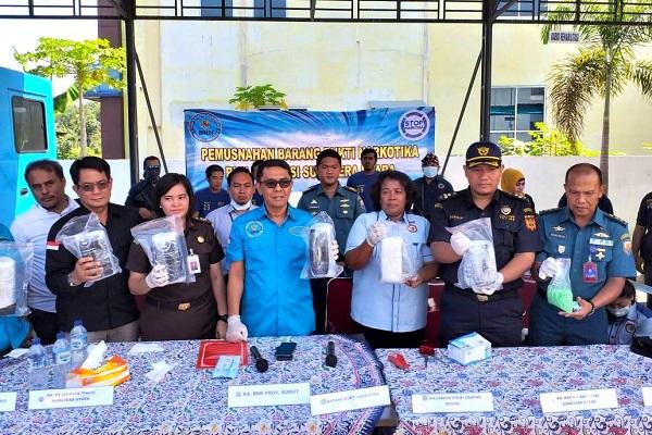 Bea Cukai Bersama BNN Provinsi Sumatera Utara Musnahkan 6 Kg Sabu dan 1000 Butir Ekstasi