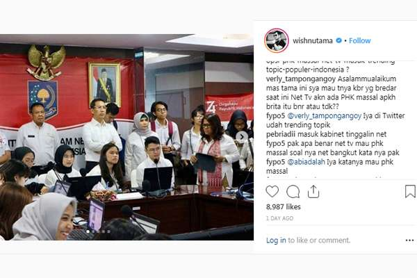 NET TV Dikabarkan PHK Massal  -  Instagram / Wishnutama