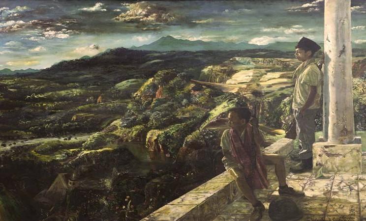 Lukisan S.Sudjojono bertajuk Aku Cinta Padamu Tanah Airku (cat minyak pada kanvas, 202 x 301 cm, 1966) - Galeri Nasional Indonesia