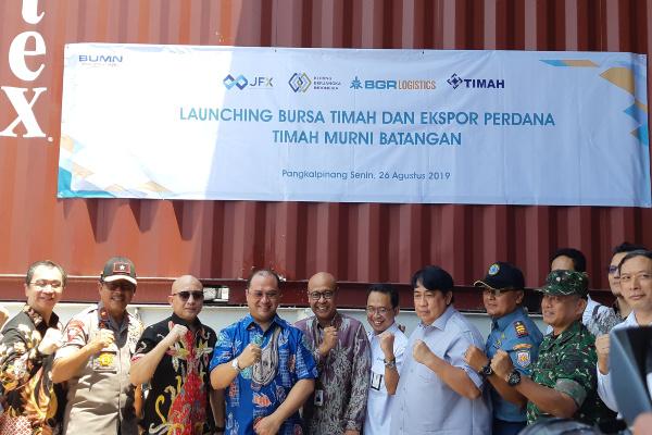 Peluncuran Bursa Timah dan Ekspor Perdana Timah Murni Batangan di Pangkalpinang, Senin 26 Agustus 2019. - Bisnis/Finna U. Ulfah