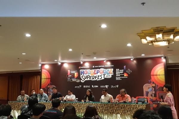 Press Conference acara Hodgepodge Superfest 2019 di Hotel Borobudur, Jakarta pada Jumat (30/8/2019) - Bisnis.com - Ria Theresia Situmorang