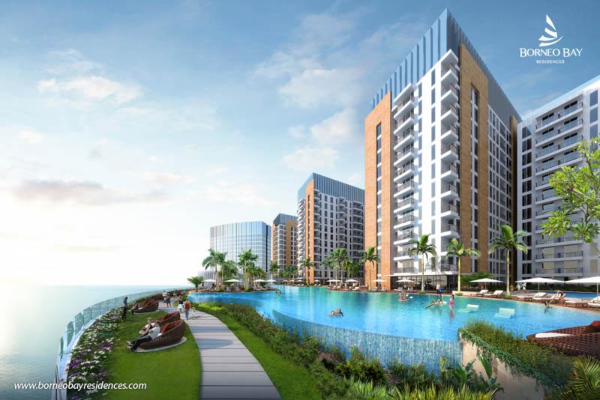 Desain Borneo Bay City proyek milik PT Agung Podomoro Land Tbk. di Balikpapan, Kalimantan Timur. - www.borneobayresidences.com