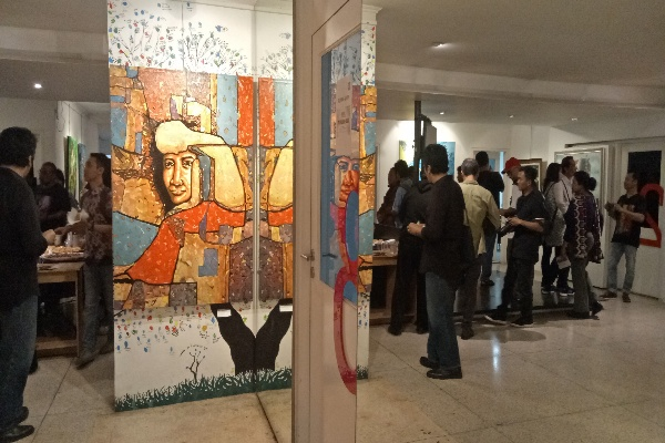 Pameran lukisan Six Signs diselenggarakan di Galeri Institut Francais Indonesia (IFI) di Jakarta pada Selasa (10/9/2019). Bisnis - Dionisio Damara