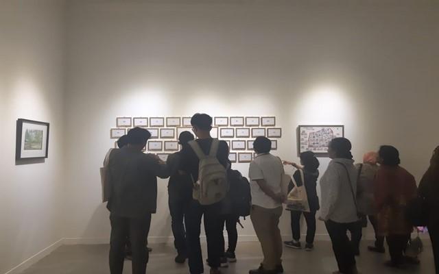 """Suasana malam pembukaan Festival Sketsa Indonesia """"Sketsaforia Urban"""" di Galeri Nasional Indonesia, Kamis (12/9) - Bisnis/Syaiful M"""