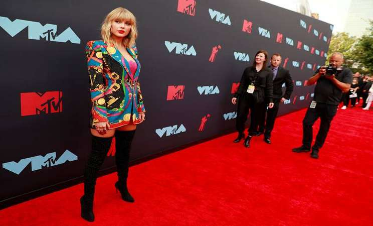 Penyanyi Taylor Swift di acara MTV Video Music Awards di New Jersey AS, 26 Agustus 2019. - Reuters