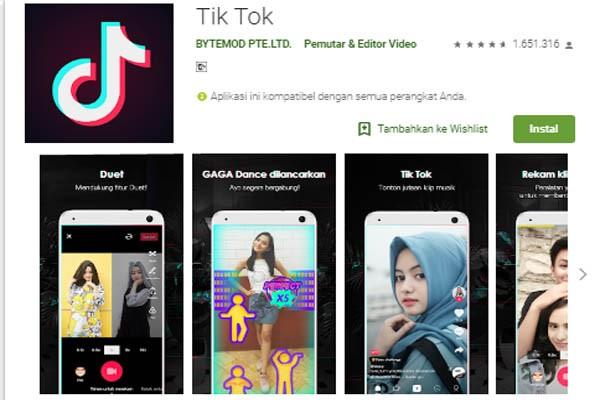 Aplikasi Tik Tok di Play Store