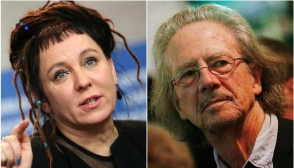 Olga Tokarczuk (kiri) dan Peter Handke. Sumber: Reuters