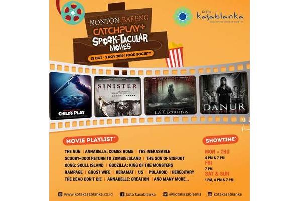 Poster kegiatan nobar film horor di Kota Kasablanka