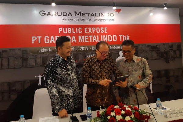 Manajemen PT Garuda Metalindo Tbk. saat menggelar paparan publik di Jakarta, Kamis (14/11/2019). - Bisnis/Muhammad Ridwan).