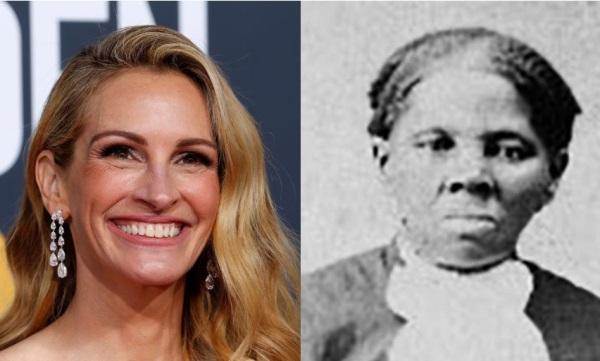 Julia Roberts dan potret diri Hariet Tubman. Sumber: Reuters