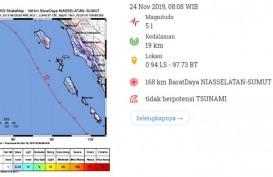 Gempa Manitudo 5.1 Guncang Nias, Tidak Berpotensi Tsunami