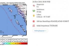 Gempa Manitudo 5.1 Guncang Nias, Tidak Berpotensi…