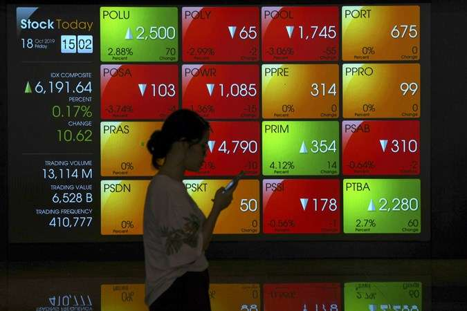 Karyawan melintas di dekat layar pergerakan saham di gedung Bursa Efek Indonesia, Jakarta, Jumat (18/10/2019).  - Antara/Nova Wahyudi