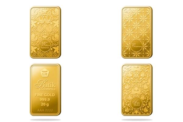 Emas batangan cetakan Antam Seri Batik Indonesia. - Repro/Bisnis