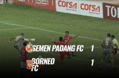 Borneo FC Ditahan Semen Padang 1-1, Rebutan Runner Up masih Panas. Ini Videonya