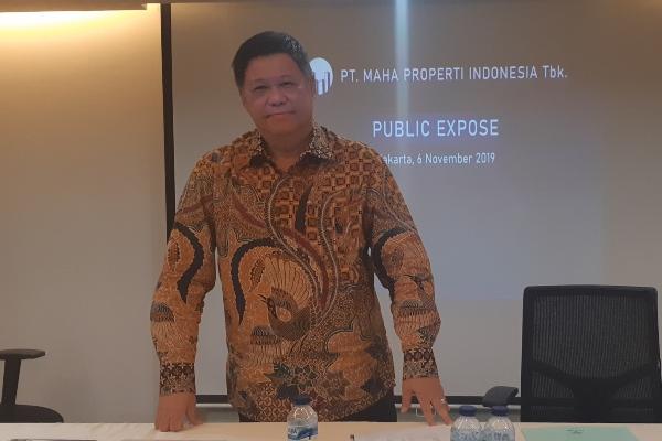 Direktur PT Maha Properti Indonesia Tbk. Suwandy saat paparan publik terkait suspen yang dikenakan oleh Bursa Efek Indonesia pada Rabu (6/11/2019). - Bisnis/Pandu Gumilar