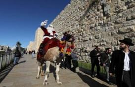 Dari Atas Unta, Sinterklas Bagikan Pohon Natal Gratis di Yerusalem