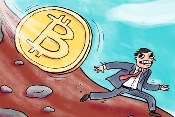 Bitcoin turun - Ilustrasi