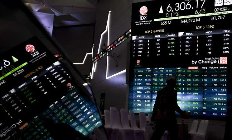 Pekerja berjalan di dekat monitor pergerakan bursa saham saat pembukaan perdagangan saham tahun 2020 di gedung Bursa Efek Indonesia, Jakarta, Kamis (2/1/2020). - ANTARA / Hafidz Mubarak A