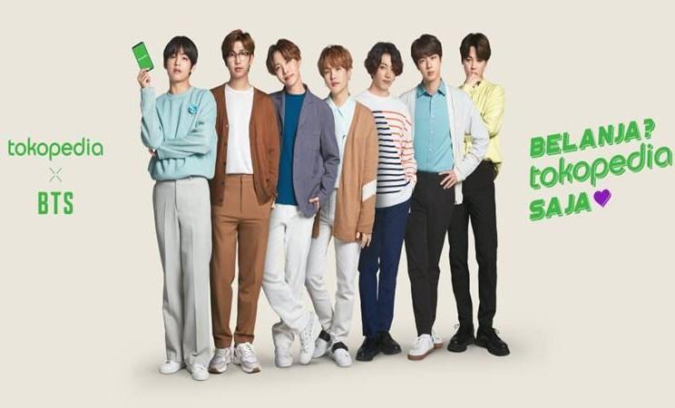 Boyband dari Korea BTS sebagai duta marketplace Tokopedia. - Istimewa