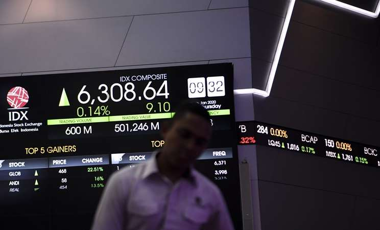 Pekerja berjalan di dekat monitor pergerakan bursa saham saat pembukaan perdagangan saham tahun 2020 di gedung Bursa Efek Indonesia, Jakarta - Antara/Hafidz Mubarak A
