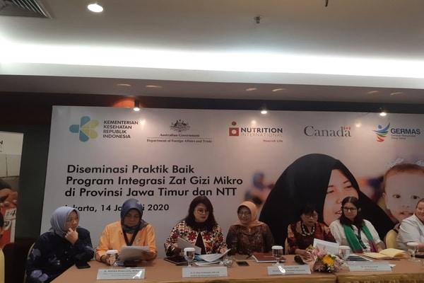Press Conference program MITRA oleh Kementerian Kesehatan dan Nutrition International di Hotel Bidakara, Jakarta Selatan pada Selasa (14/1 - 2020)