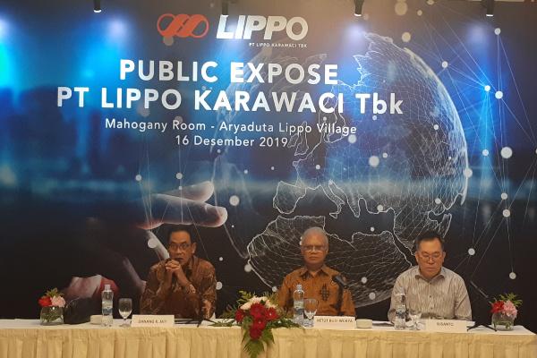 Manajemen PT Lippo Karawaci Tbk. memberikan penjelasan dalam paparan publik di Jakarta, Senin (16/12/2019). - Bisnis/Pandu Gumilar