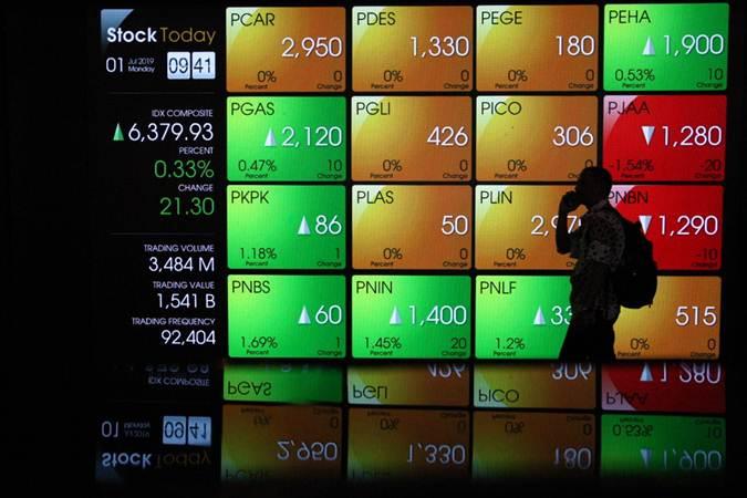 Pejalan kaki berjalan di dekat papan elektronik yang menampilkan perdagangan harga saham Bursa Efek Indonesia. - Bisnis/Dedi Gunawan