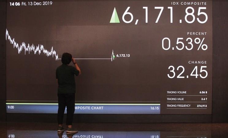 Karyawan berdiri di dekat layar pergerakan saham di gedung Bursa Efek Indonesia, Jakarta, Jumat (13/12/2019). - ANTARA /Reno Esnir