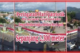 Bendera 2.301 Meter di Gorontalo Masuk Rekor MURI