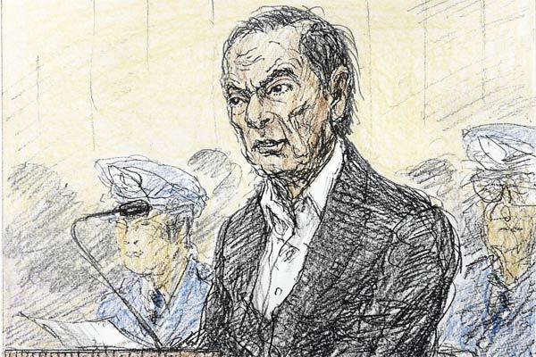 Sebuah sketsa pengadilan, yang dibuat Nobutoshi Katsuyama, memperlihatkan pemimpin Nissan Motor Co Ltd yang digulingkan, Carlos Ghosn dalam sidang terbuka untuk mendengarkan alasan penahanannya, di Pengadilan Distrik Tokyo di Tokyo, Jepang, dalam gambar ini yang dirilis oleh Kyodo 8 Januari 2019. - Kyodo/Reuters